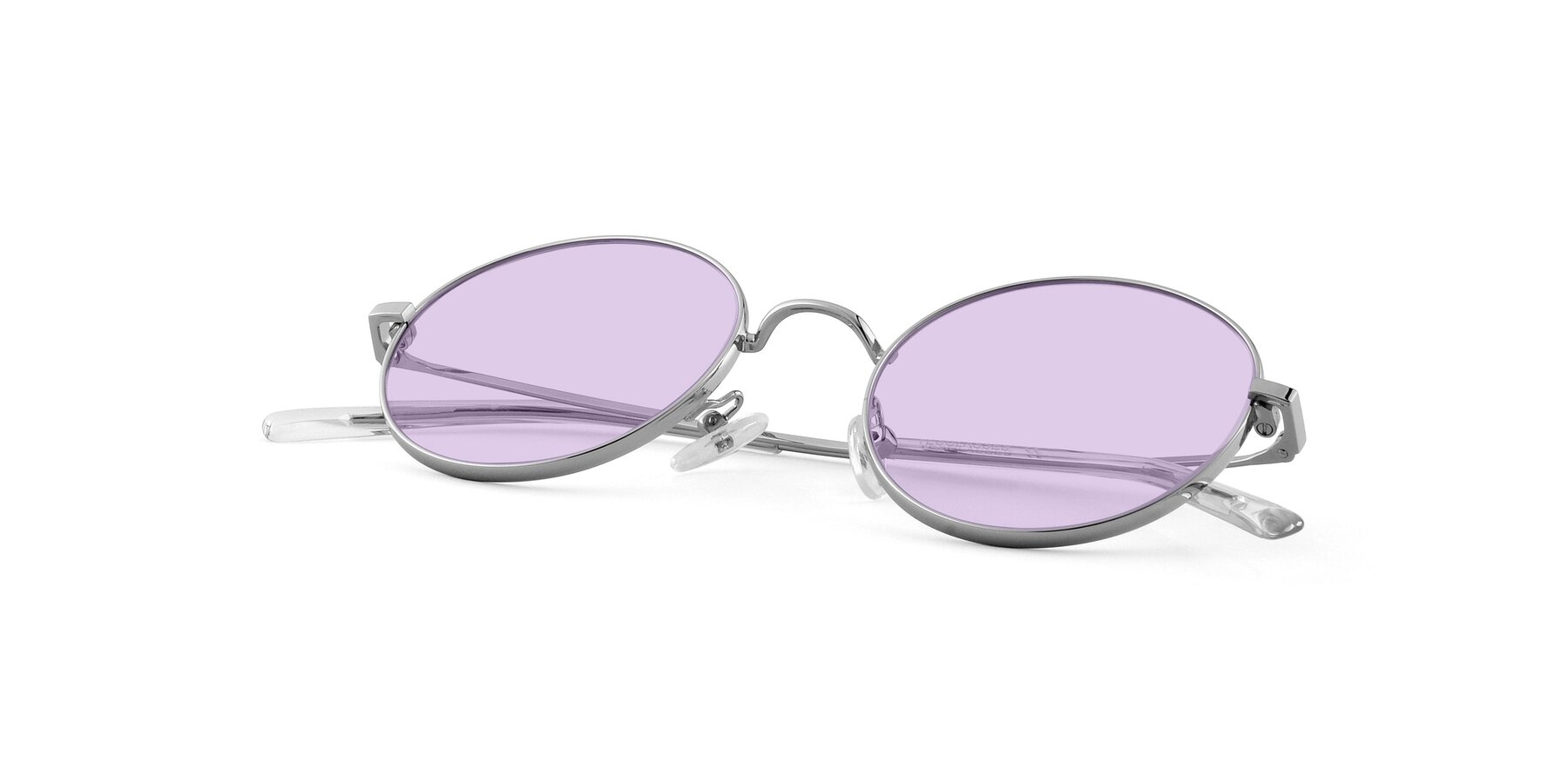 View of Moore in Sliver with Light Purple Tinted Lenses