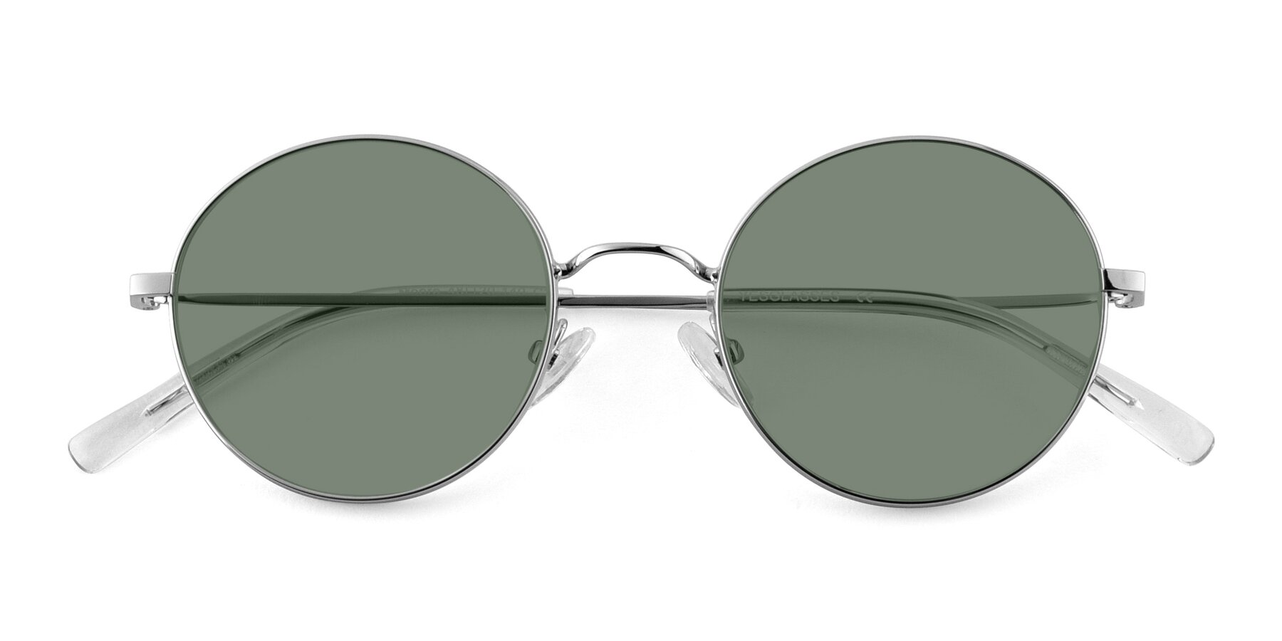 Folded Front of Moore in Sliver with Medium Green Tinted Lenses