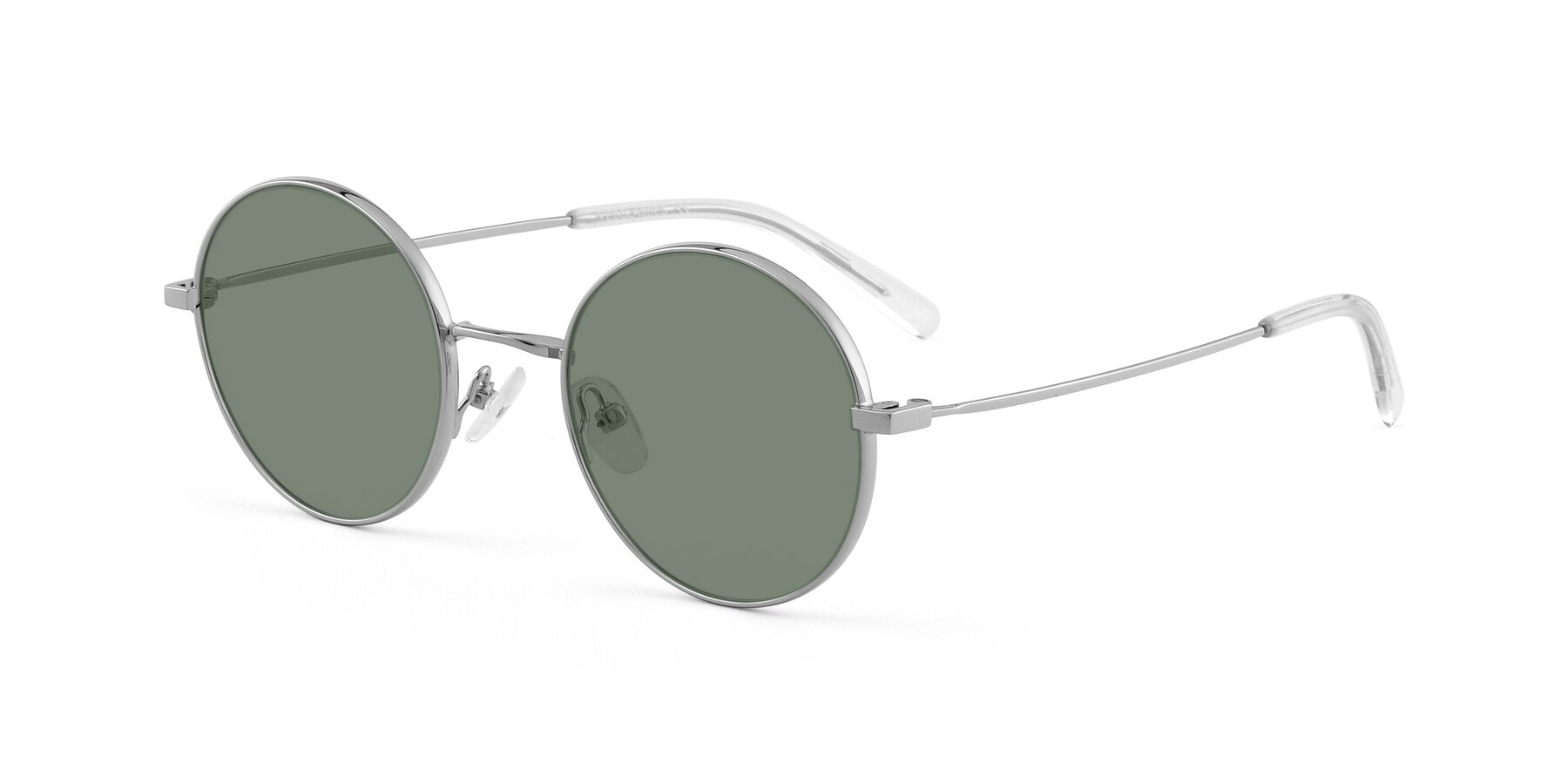 Angle of Moore in Silver with Medium Green Tinted Lenses