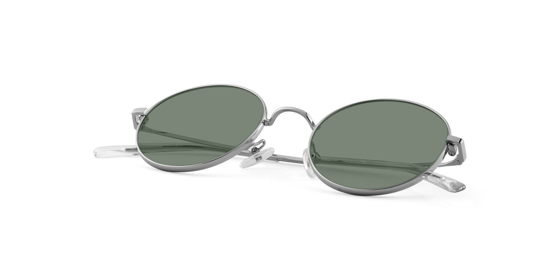 View of Moore in Sliver with Medium Green Tinted Lenses