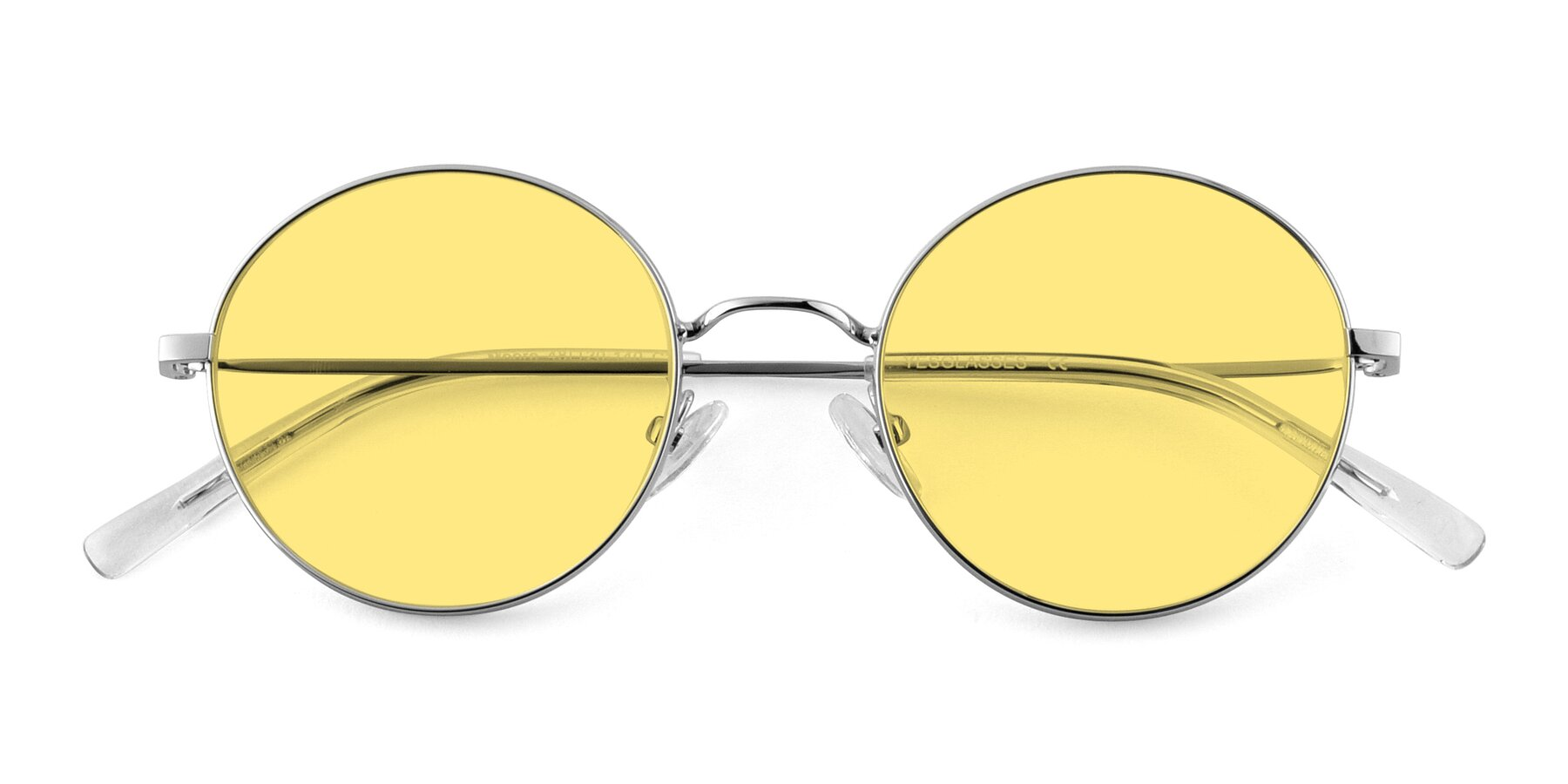Folded Front of Moore in Silver with Medium Yellow Tinted Lenses