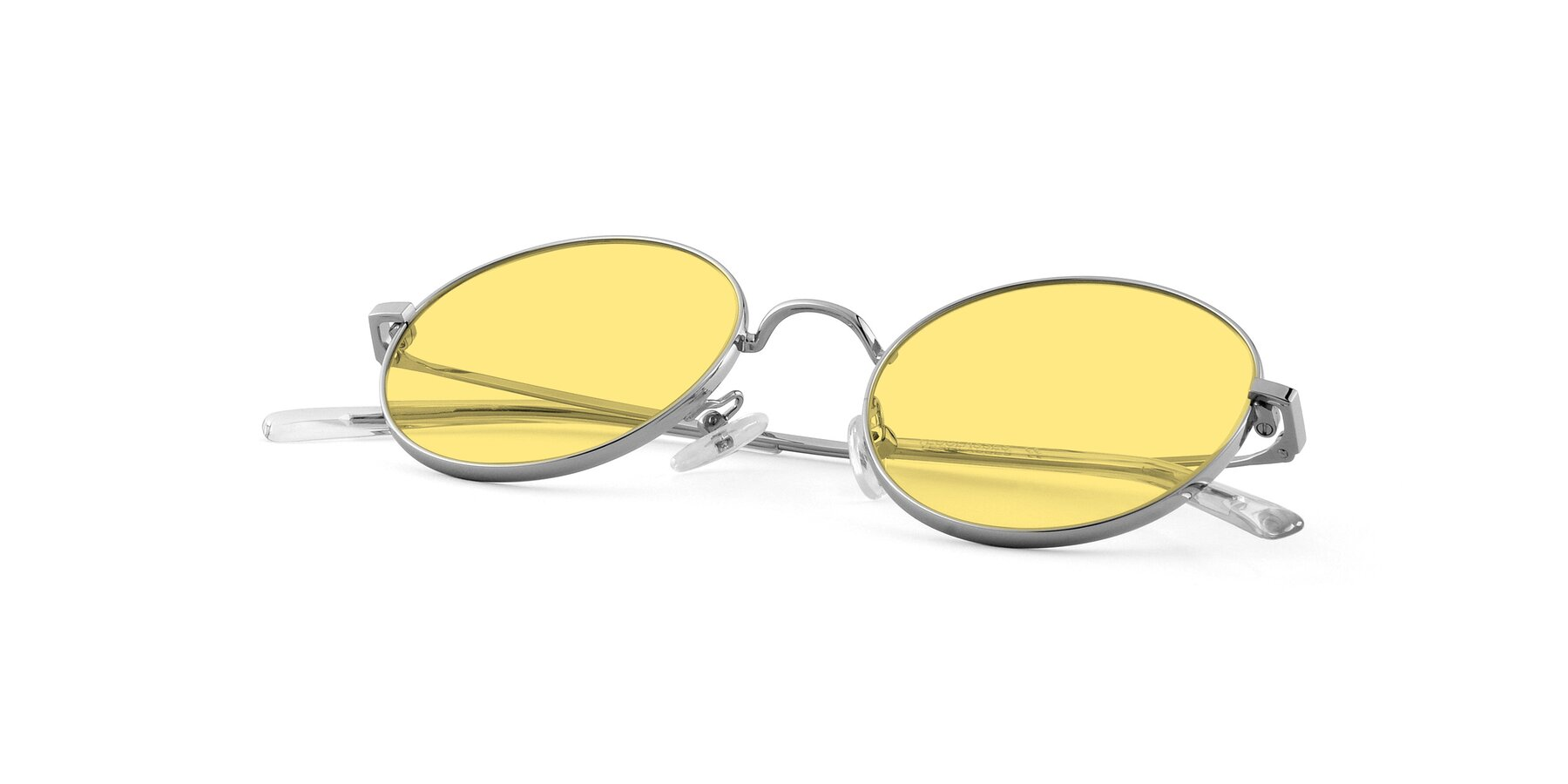 View of Moore in Silver with Medium Yellow Tinted Lenses