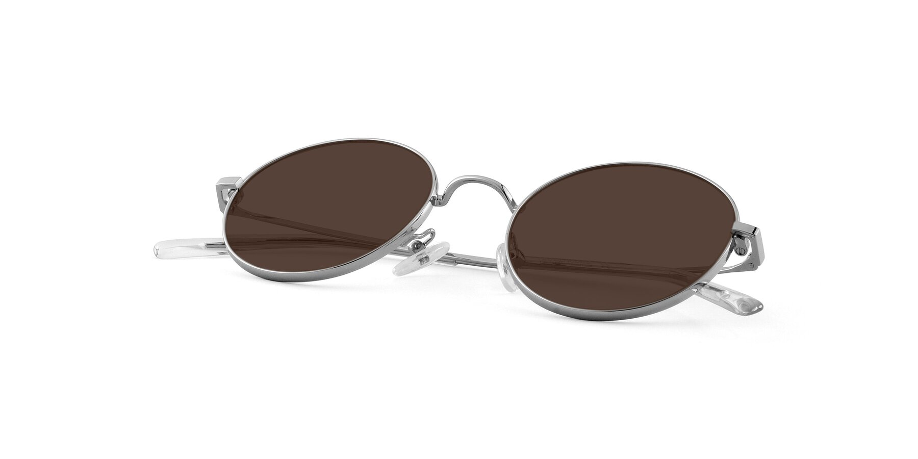 View of Moore in Silver with Brown Tinted Lenses