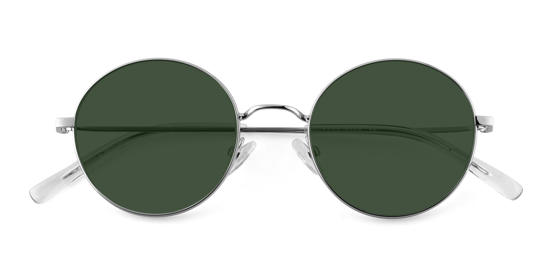 Folded Front of Moore in Sliver with Green Tinted Lenses