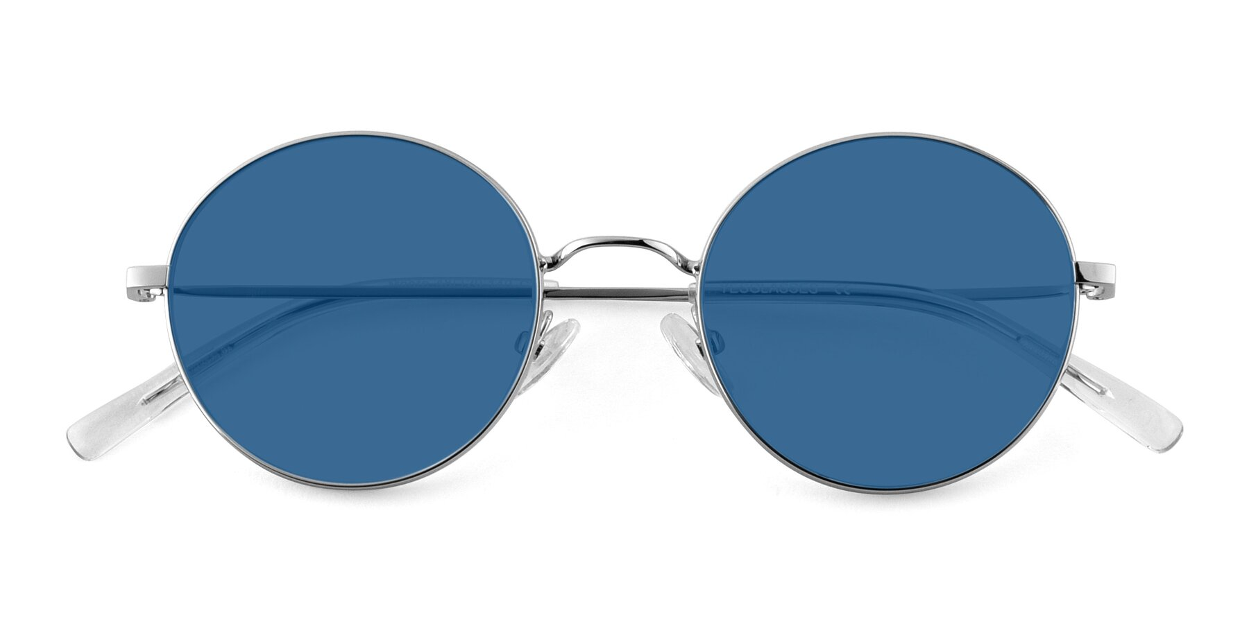 Folded Front of Moore in Silver with Blue Tinted Lenses