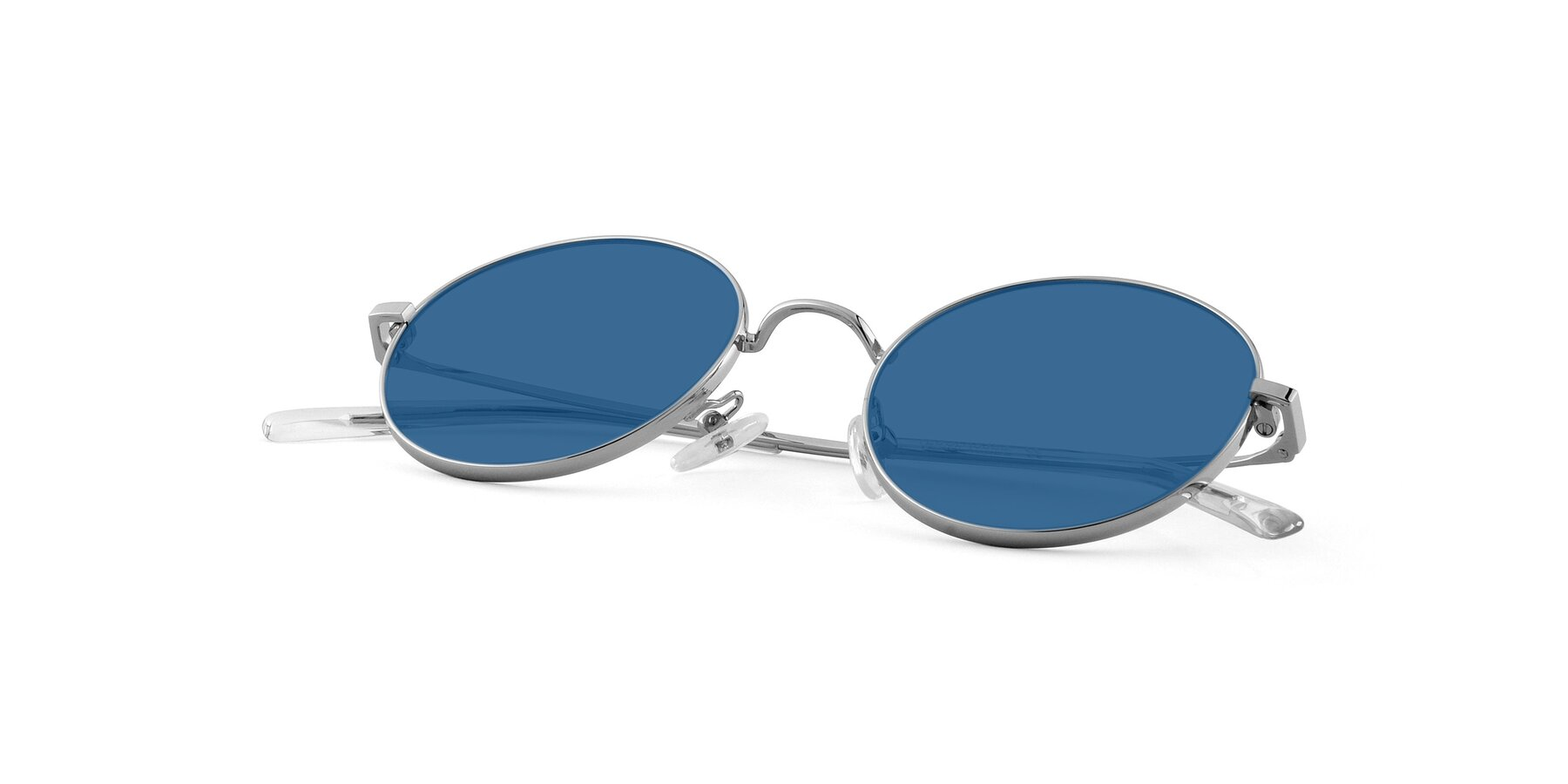 View of Moore in Silver with Blue Tinted Lenses