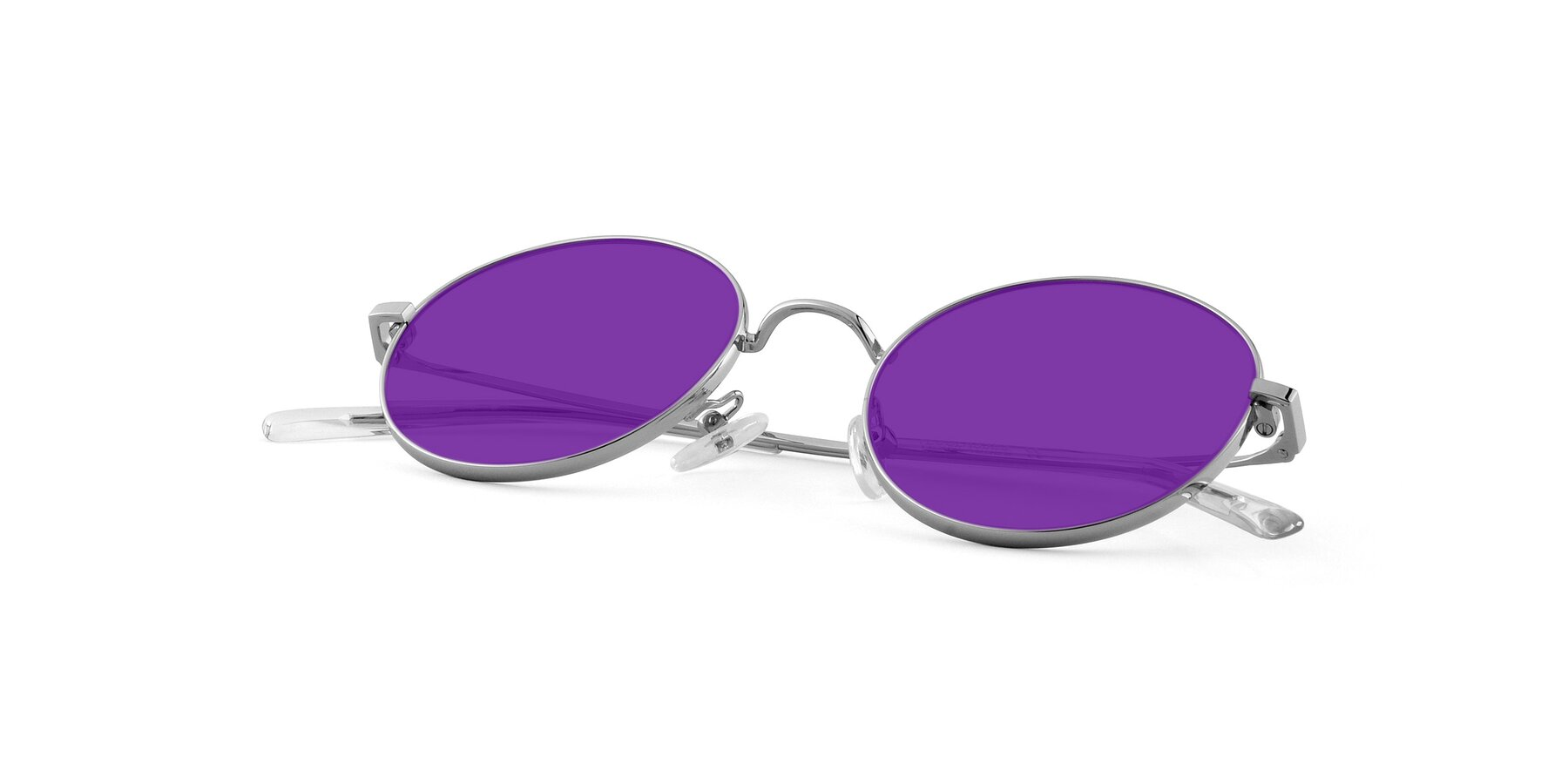 View of Moore in Silver with Purple Tinted Lenses