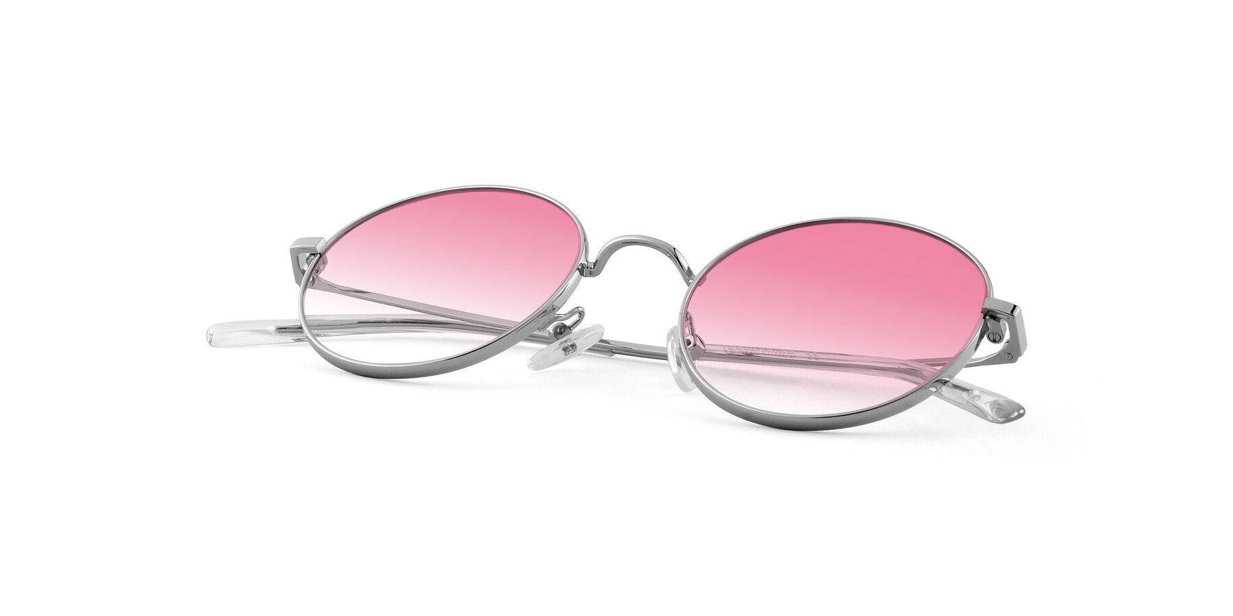 View of Moore in Silver with Pink Gradient Lenses