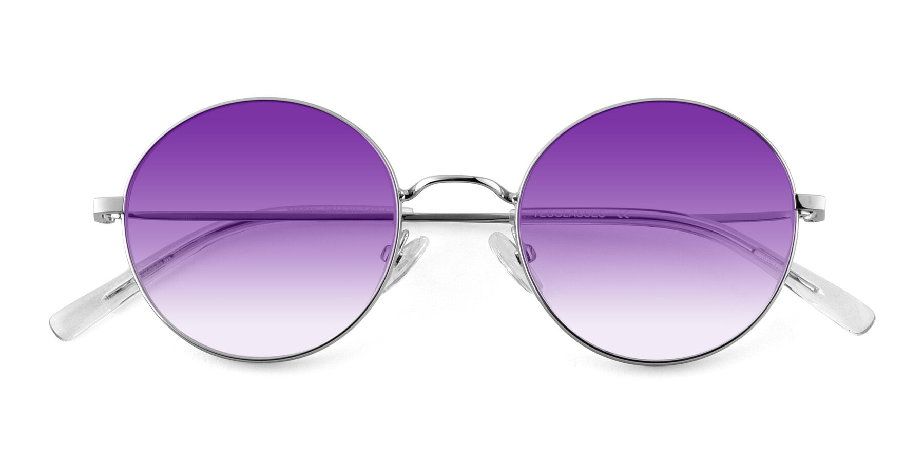 Folded Front of Moore in Silver with Purple Gradient Lenses