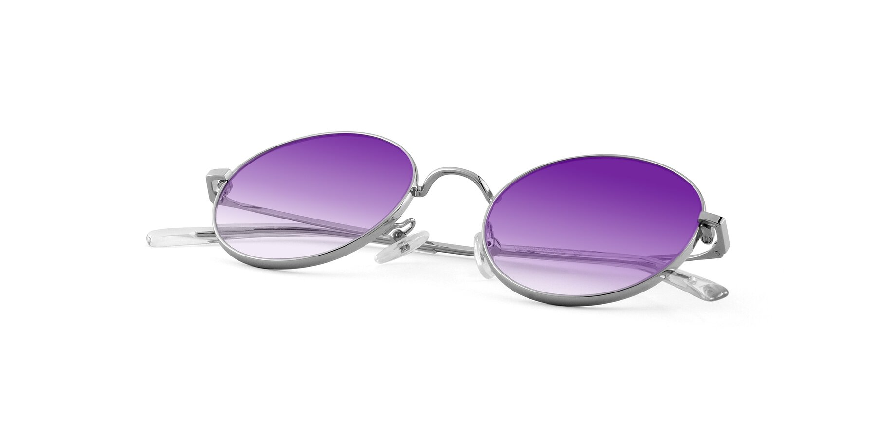 View of Moore in Silver with Purple Gradient Lenses
