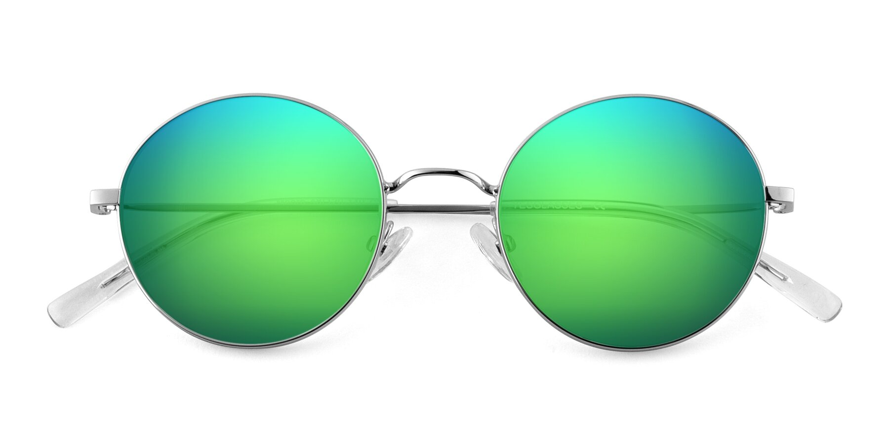 Folded Front of Moore in Silver with Green Mirrored Lenses