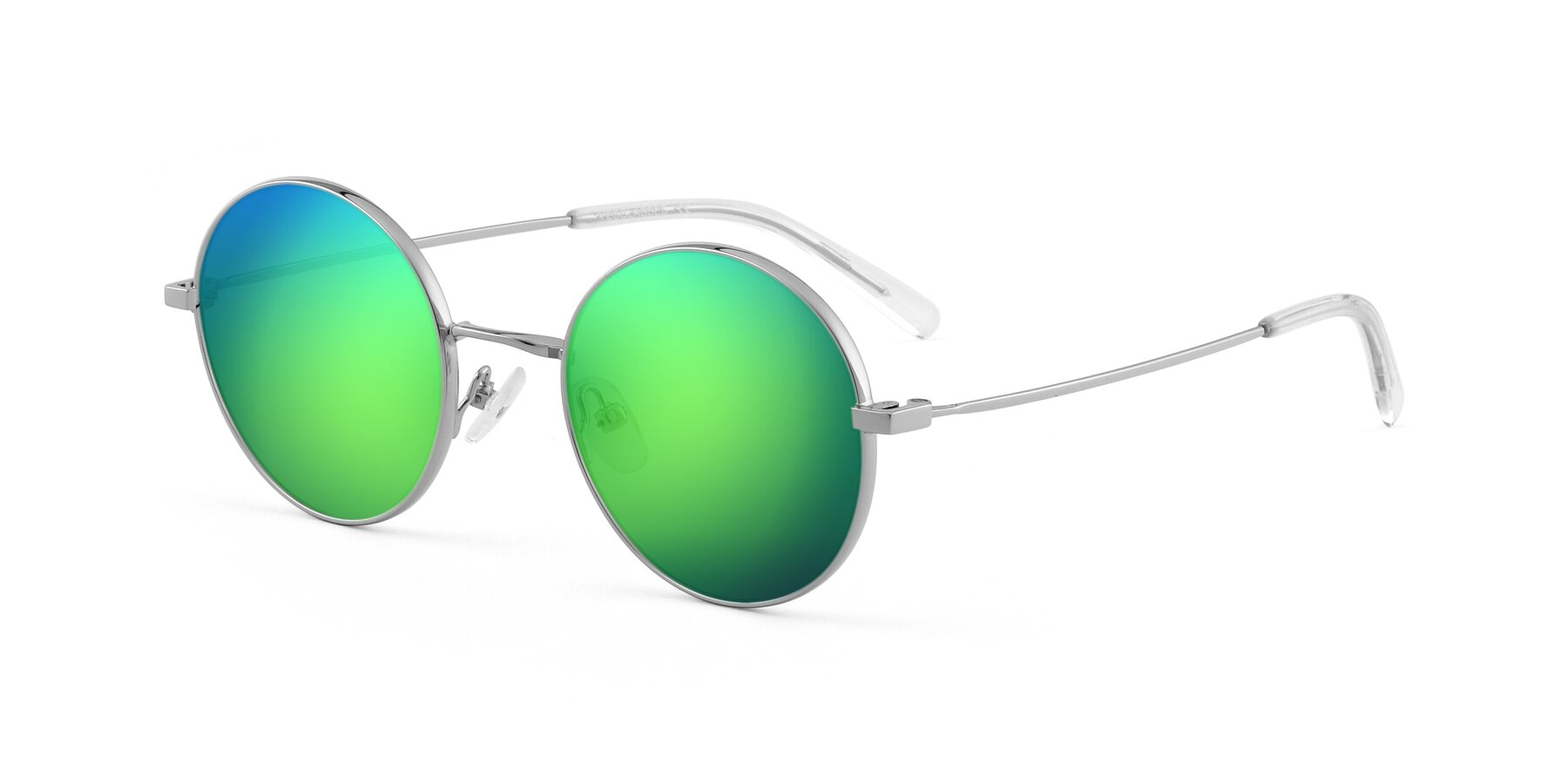 Angle of Moore in Silver with Green Mirrored Lenses