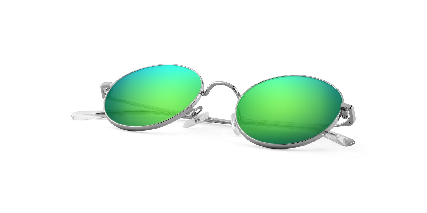 View of Moore in Silver with Green Mirrored Lenses
