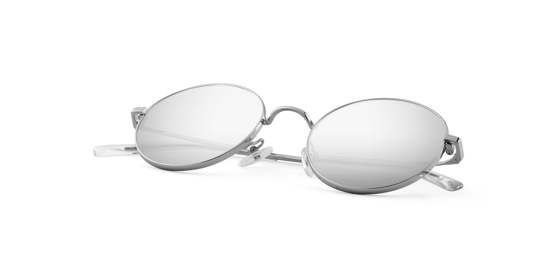 View of Moore in Silver with Silver Mirrored Lenses