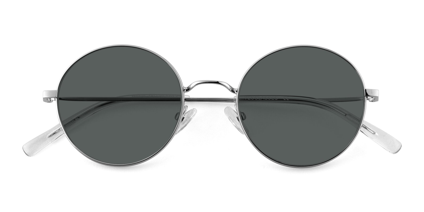 Folded Front of Moore in Silver with Gray Polarized Lenses