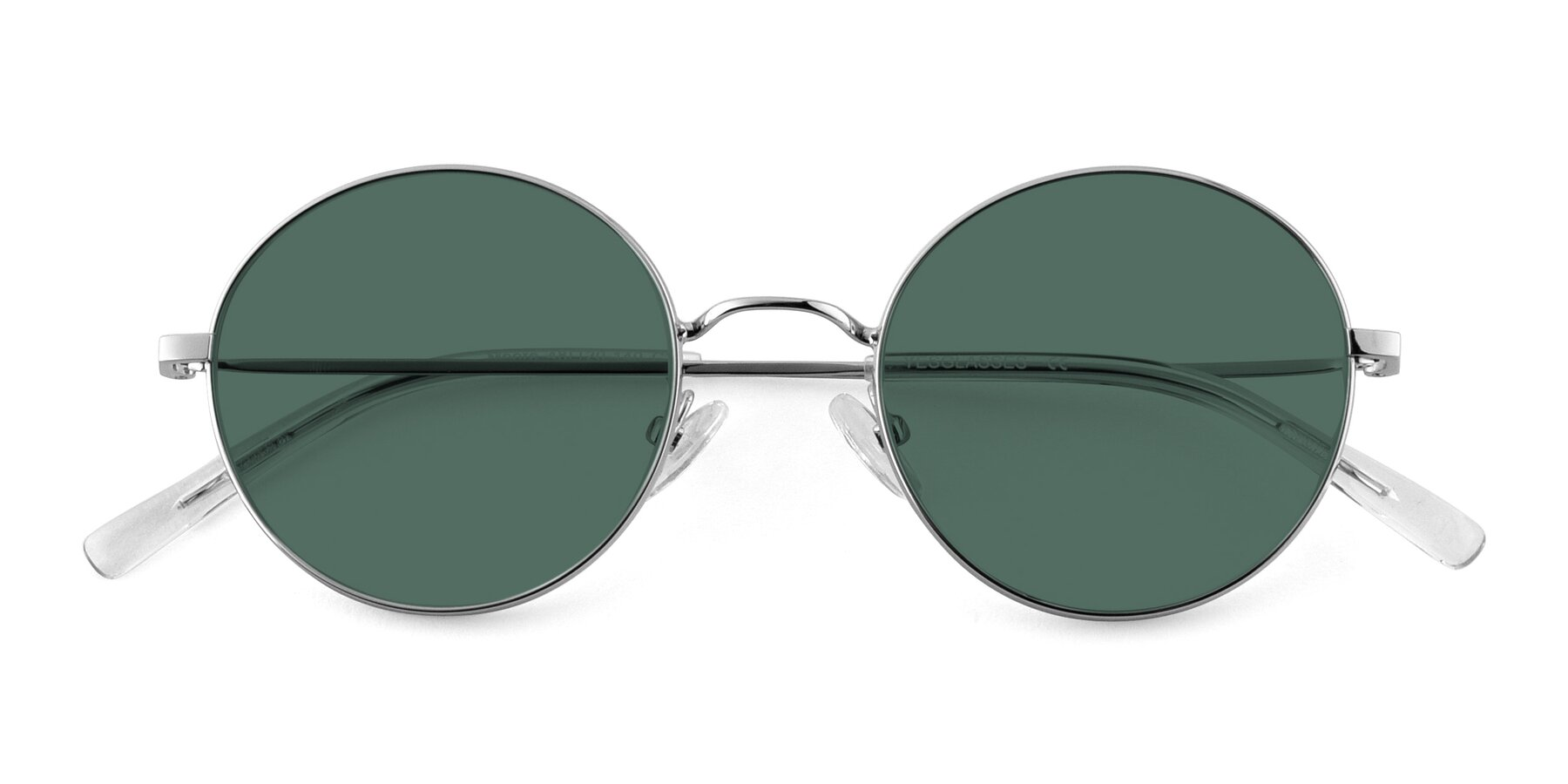 Folded Front of Moore in Silver with Green Polarized Lenses