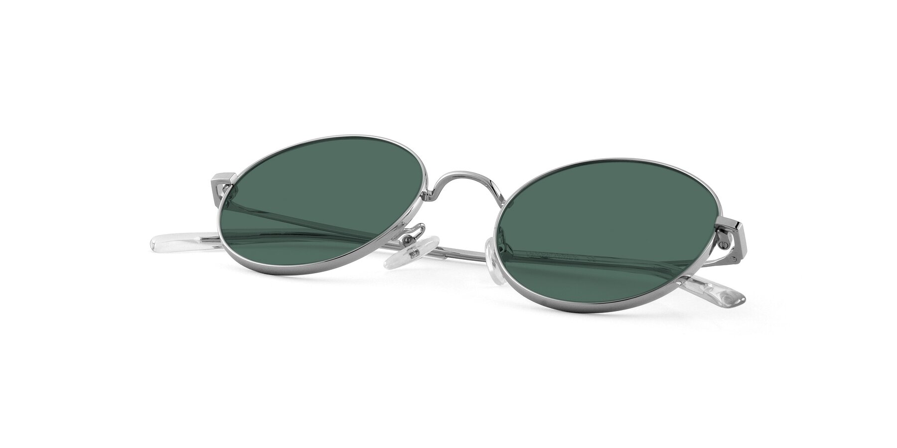 View of Moore in Silver with Green Polarized Lenses