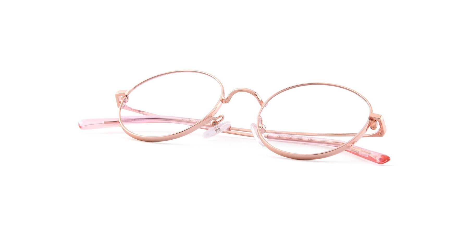 View of Moore in Rose Gold with Clear Eyeglass Lenses