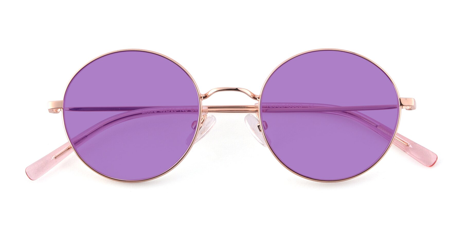 Folded Front of Moore in Rose Gold with Medium Purple Tinted Lenses