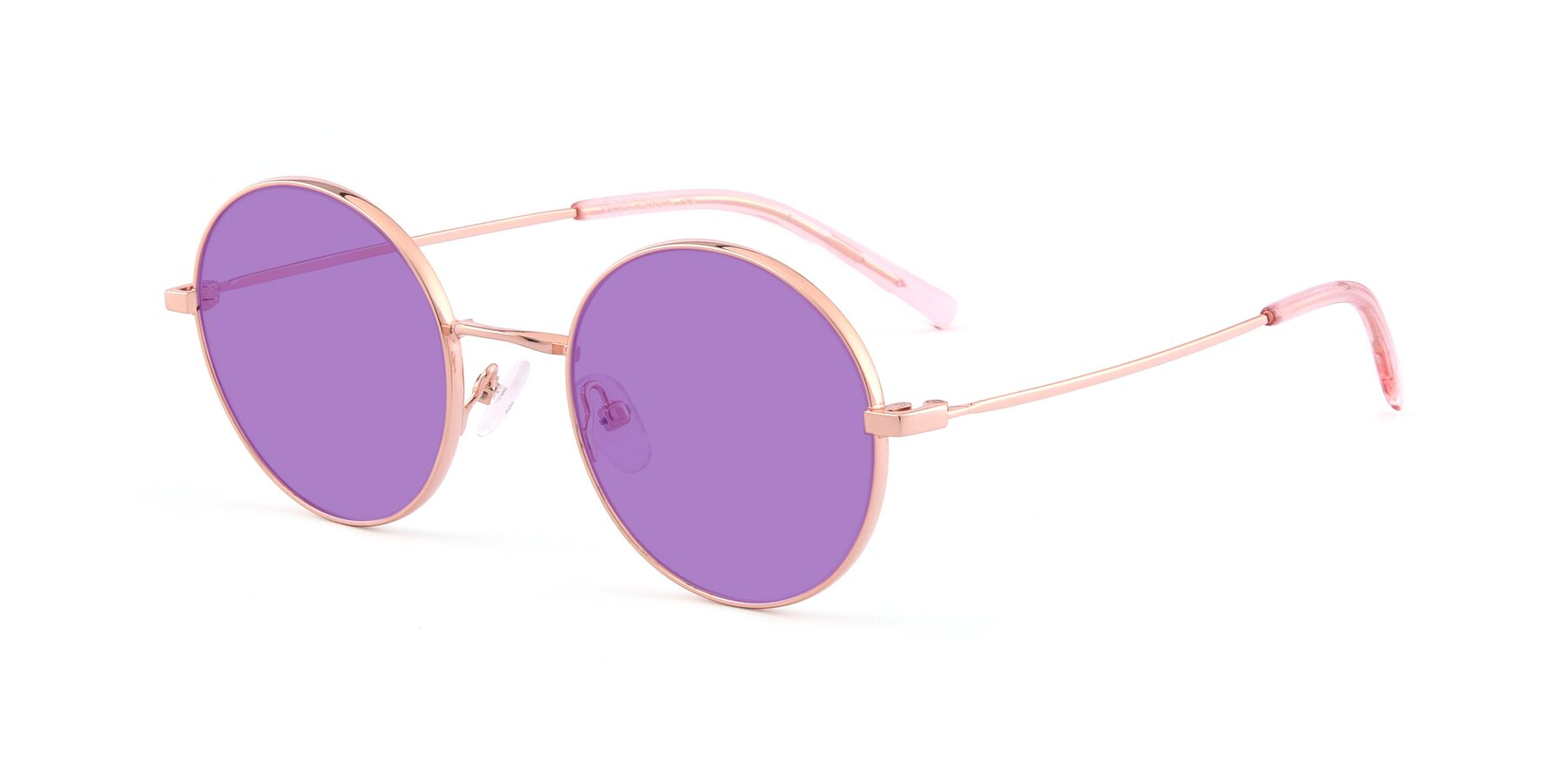 Angle of Moore in Rose Gold with Medium Purple Tinted Lenses