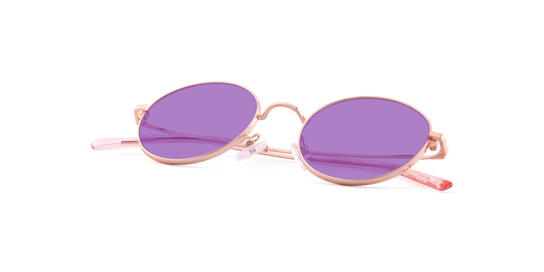 View of Moore in Rose Gold with Medium Purple Tinted Lenses
