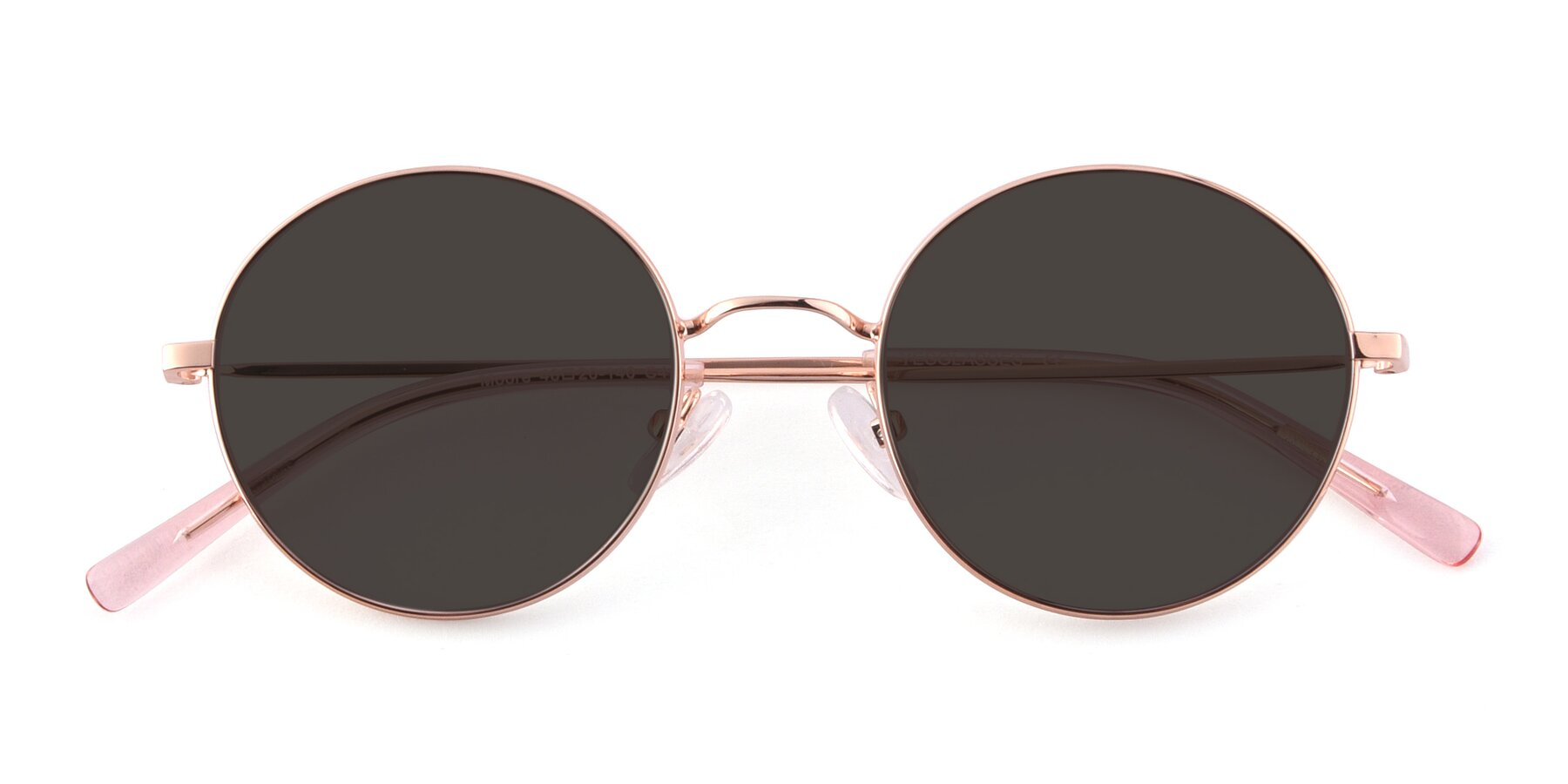 Folded Front of Moore in Rose Gold with Gray Tinted Lenses