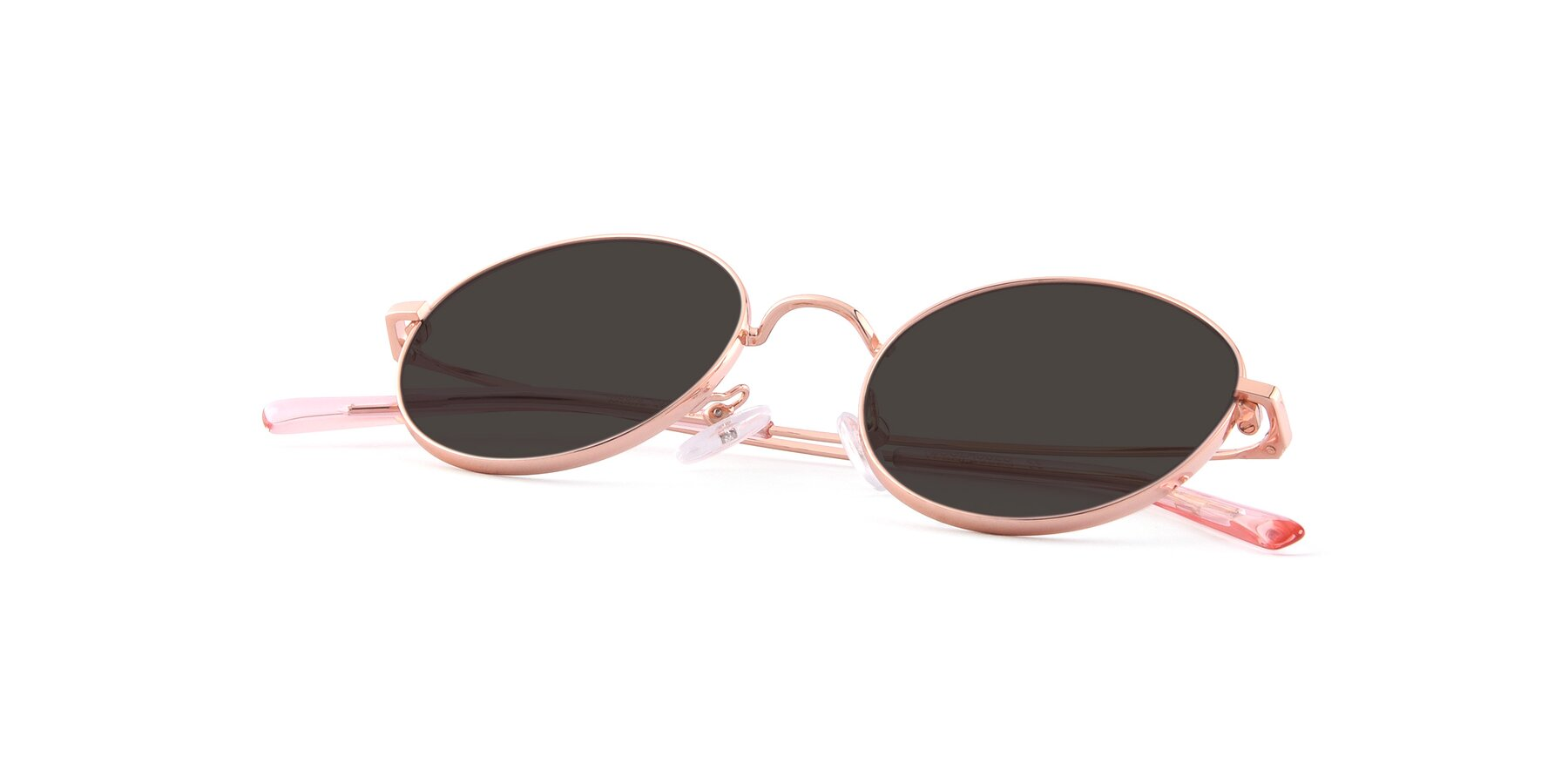 View of Moore in Rose Gold with Gray Tinted Lenses