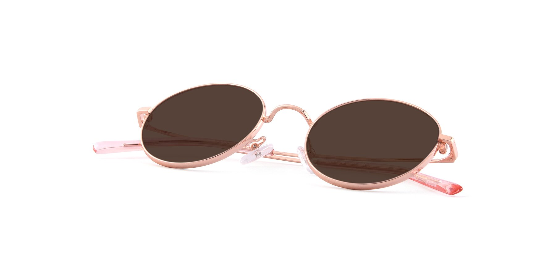 View of Moore in Rose Gold with Brown Tinted Lenses