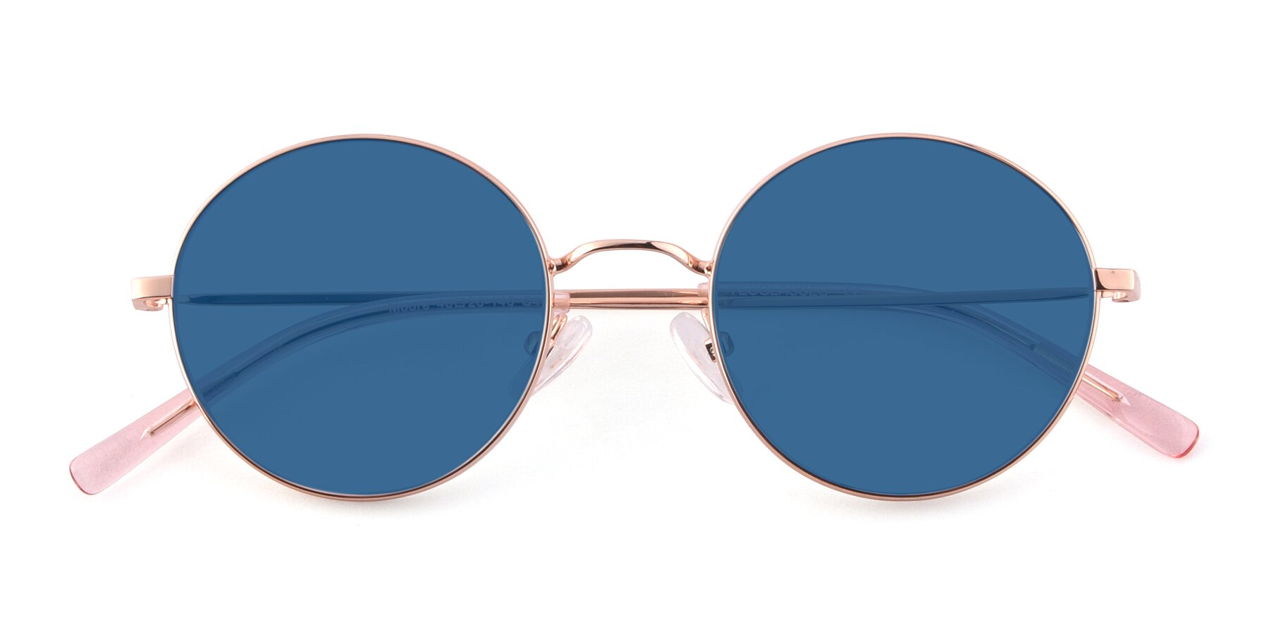 Folded Front of Moore in Rose Gold with Blue Tinted Lenses
