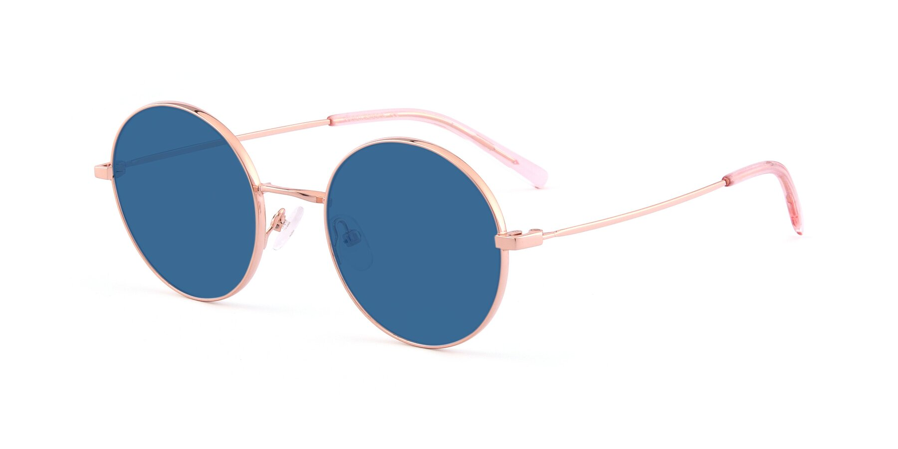 Angle of Moore in Rose Gold with Blue Tinted Lenses