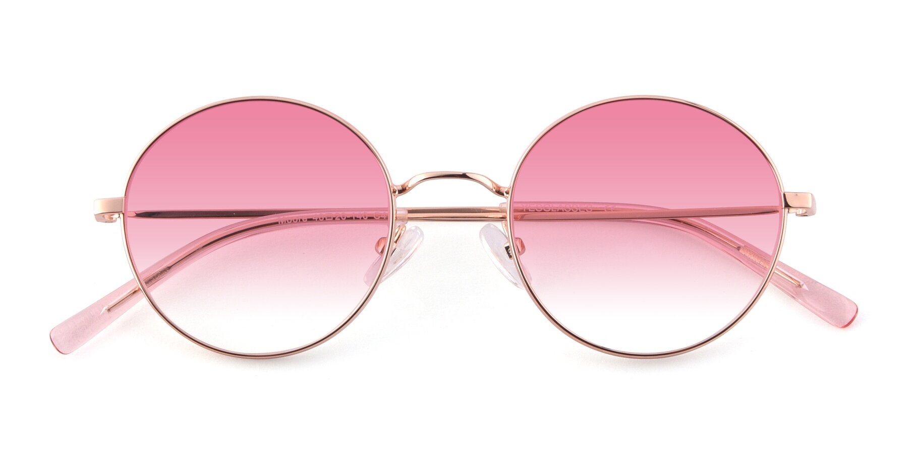 Folded Front of Moore in Rose Gold with Pink Gradient Lenses