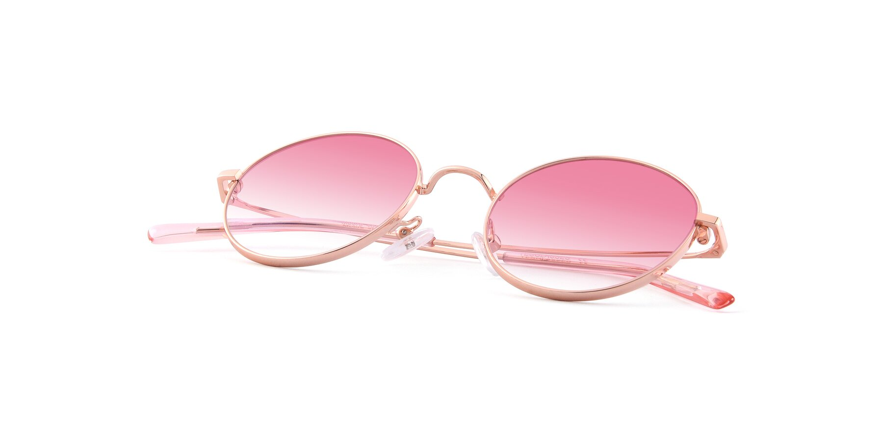View of Moore in Rose Gold with Pink Gradient Lenses
