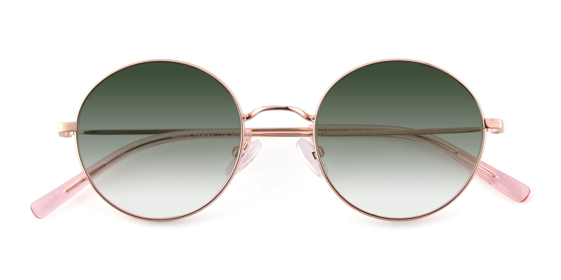Folded Front of Moore in Rose Gold with Green Gradient Lenses