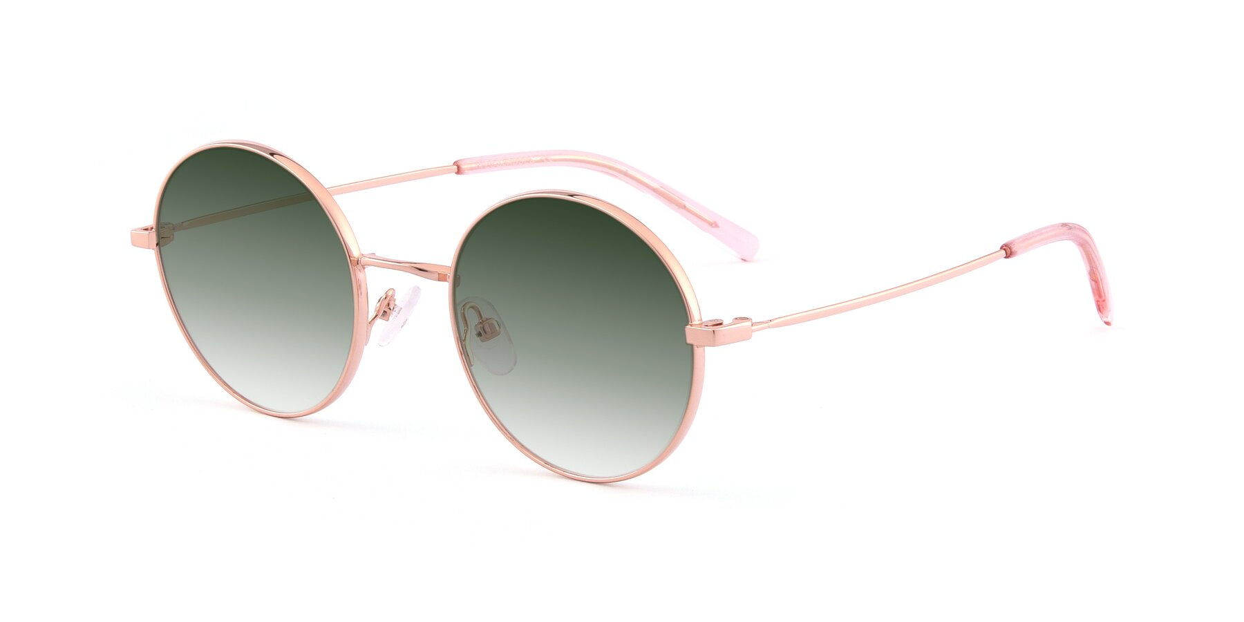 Angle of Moore in Rose Gold with Green Gradient Lenses