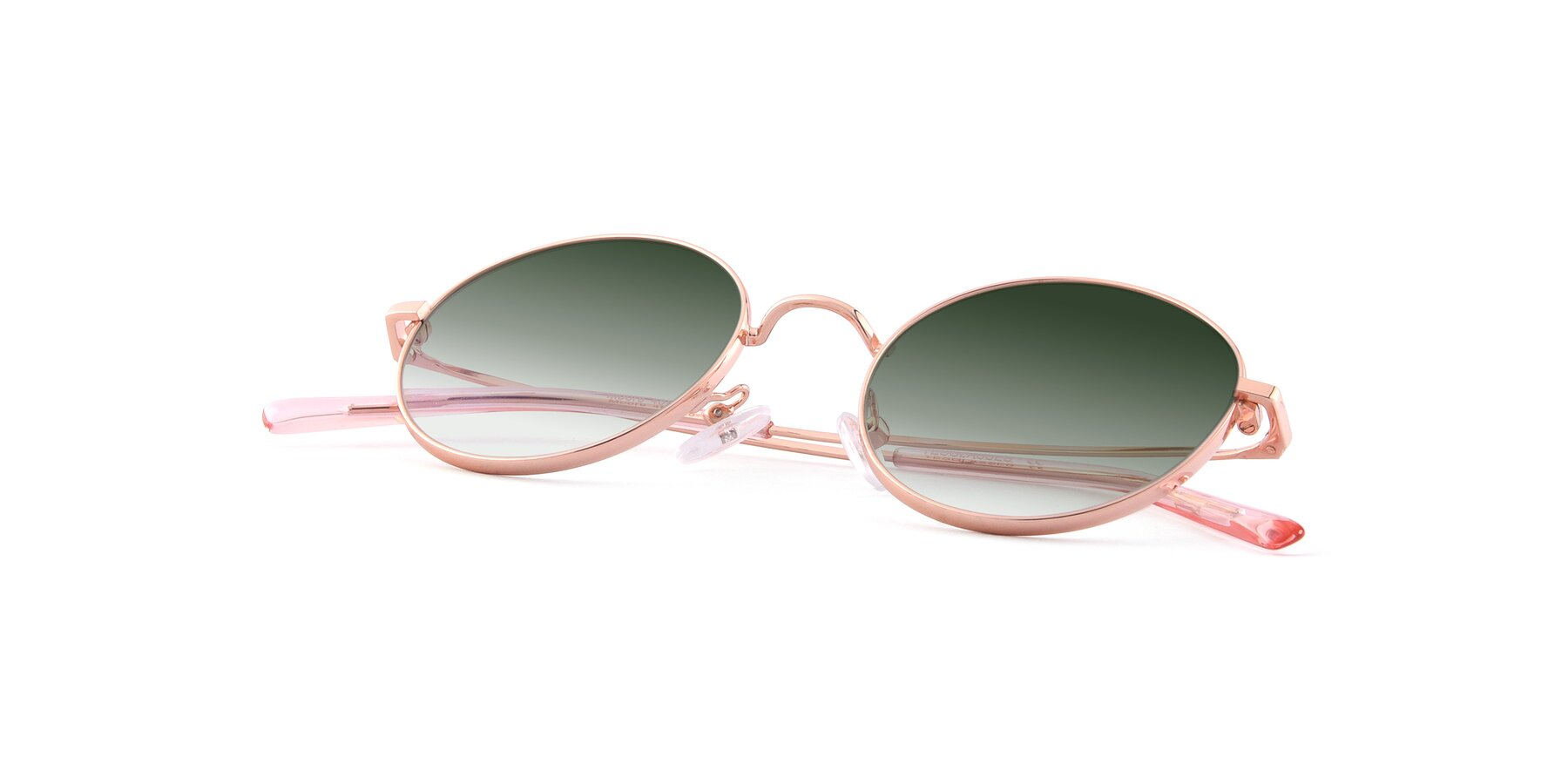 View of Moore in Rose Gold with Green Gradient Lenses