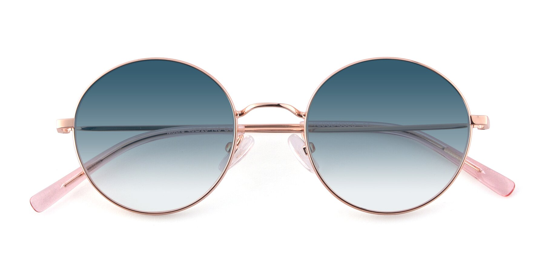 Folded Front of Moore in Rose Gold with Blue Gradient Lenses