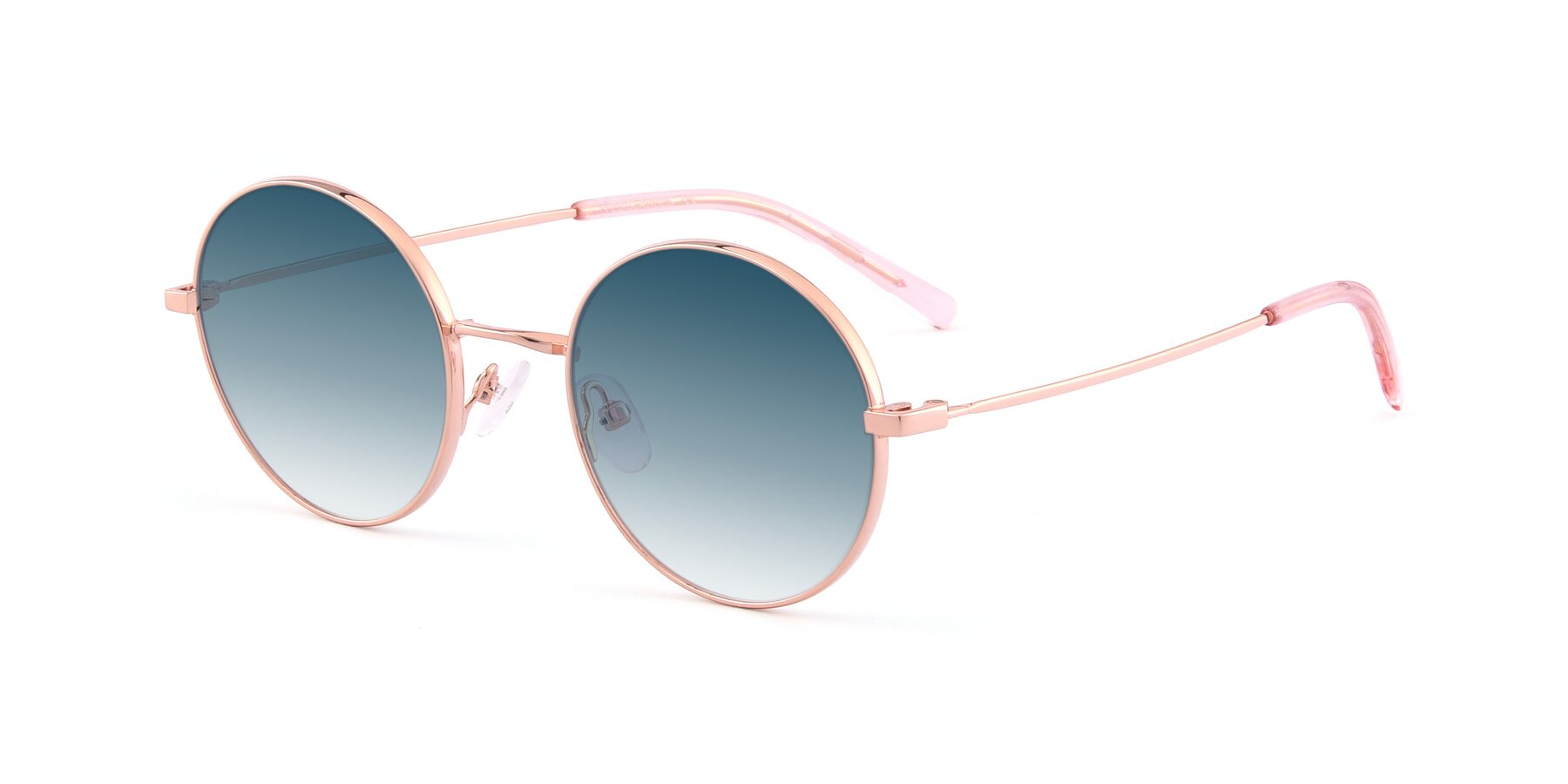 Angle of Moore in Rose Gold with Blue Gradient Lenses