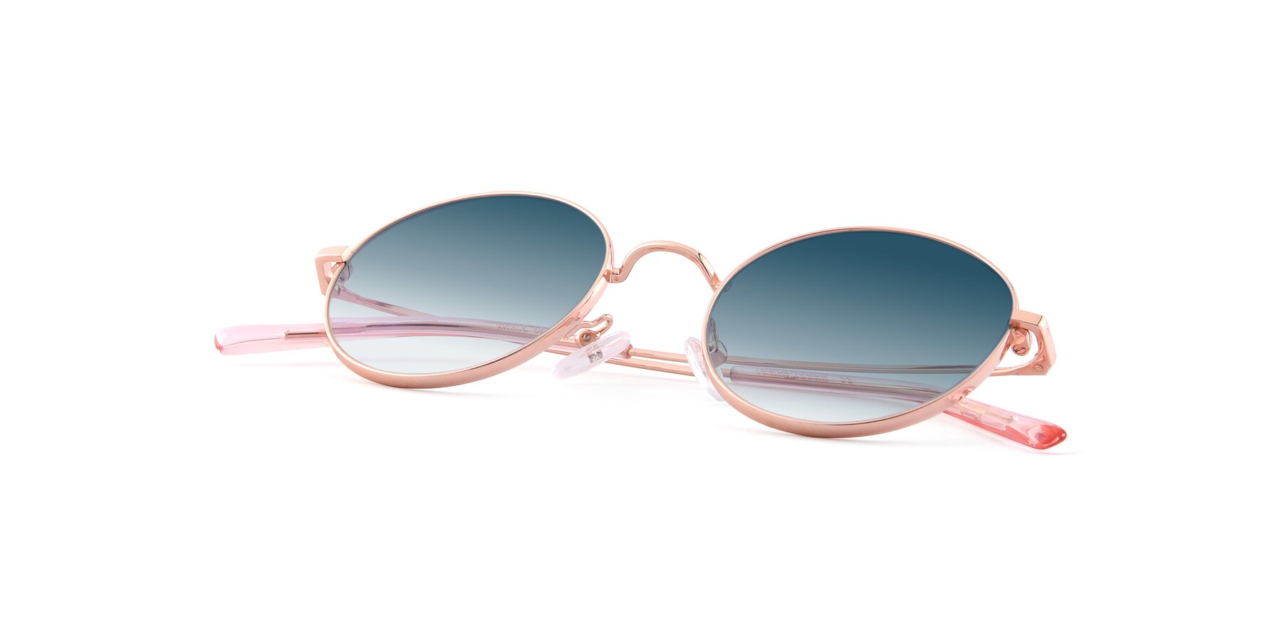 View of Moore in Rose Gold with Blue Gradient Lenses