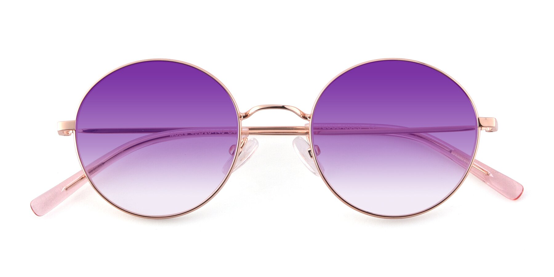 Folded Front of Moore in Rose Gold with Purple Gradient Lenses