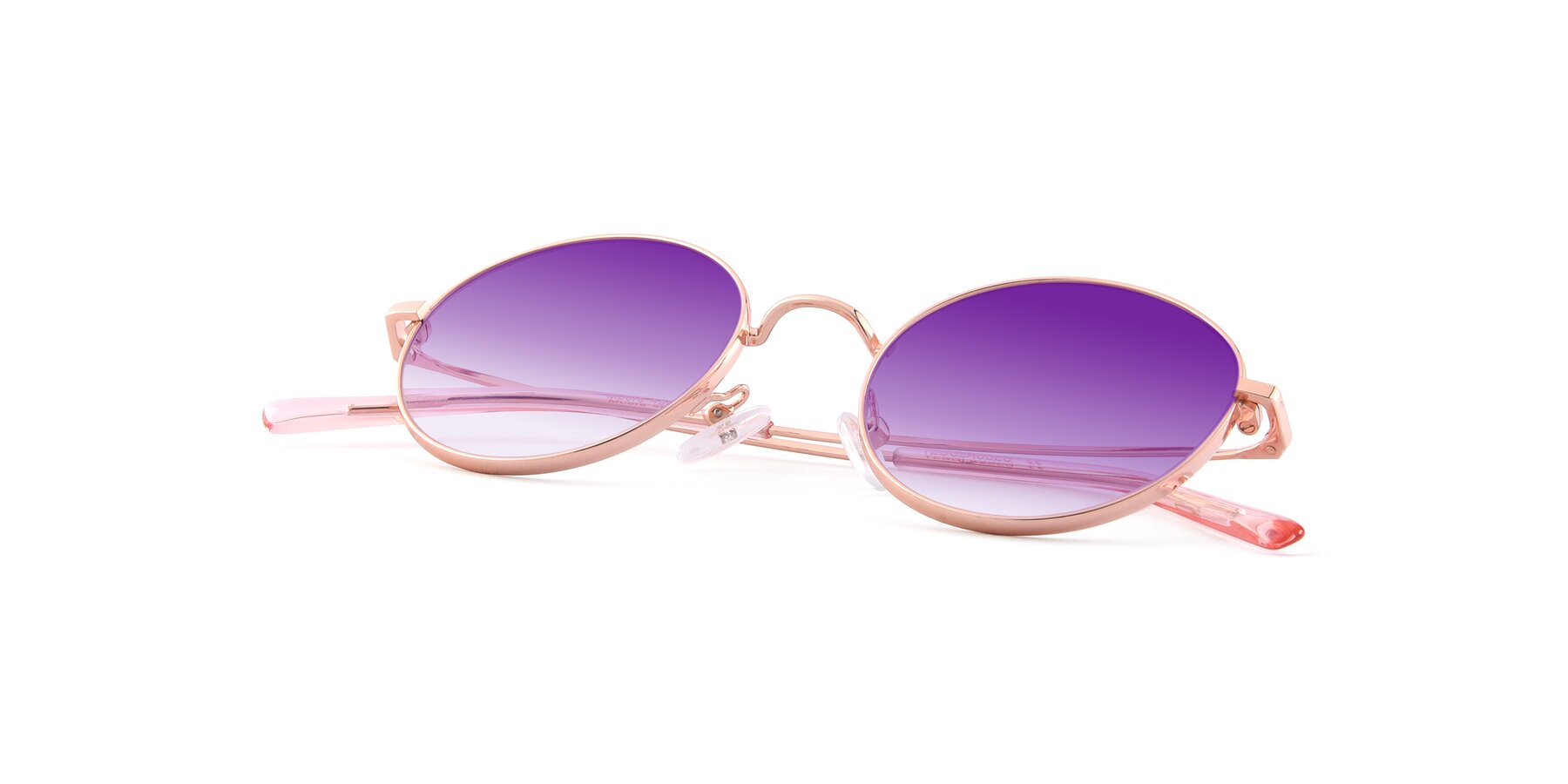 View of Moore in Rose Gold with Purple Gradient Lenses