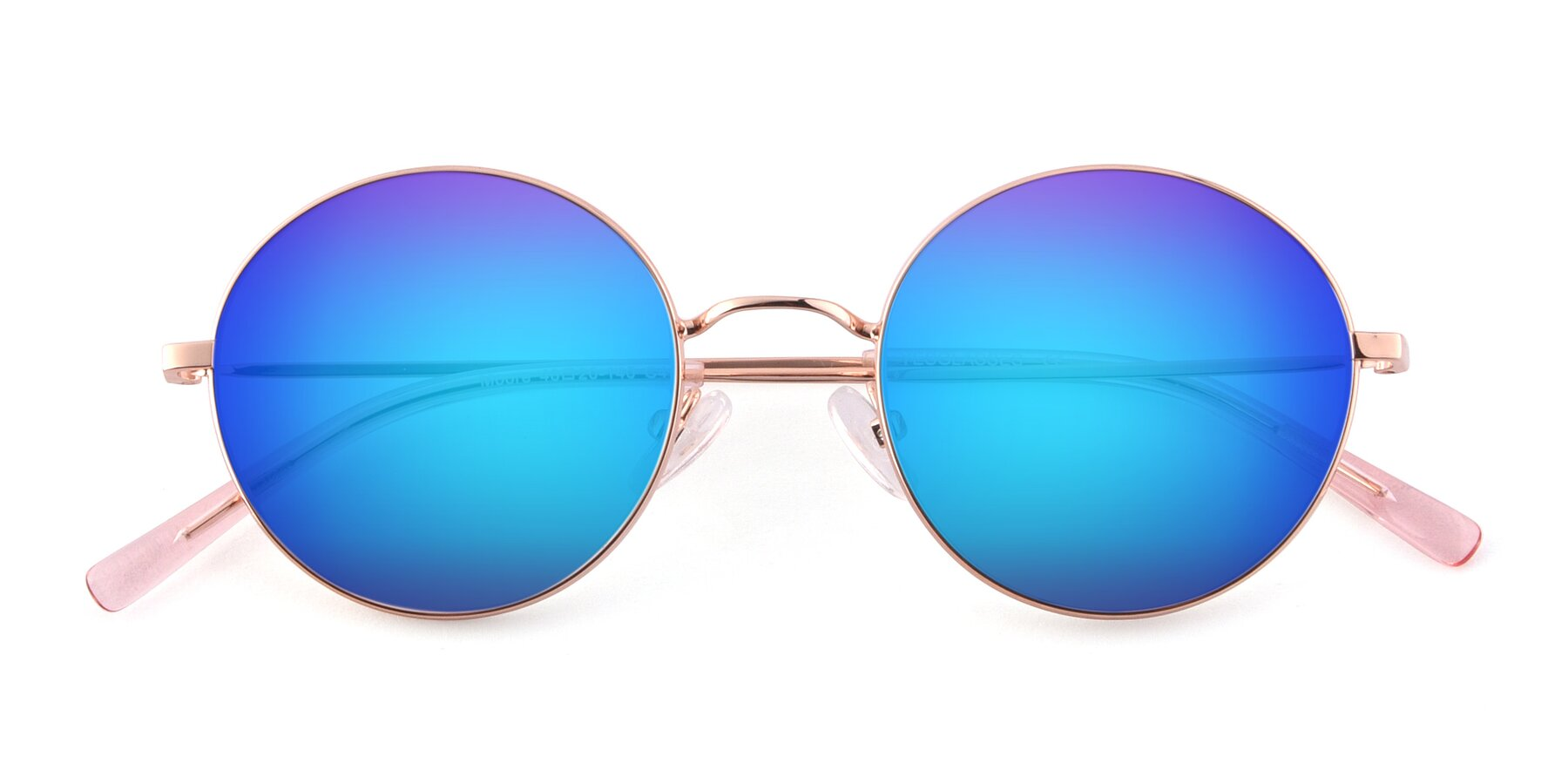 Folded Front of Moore in Rose Gold with Blue Mirrored Lenses