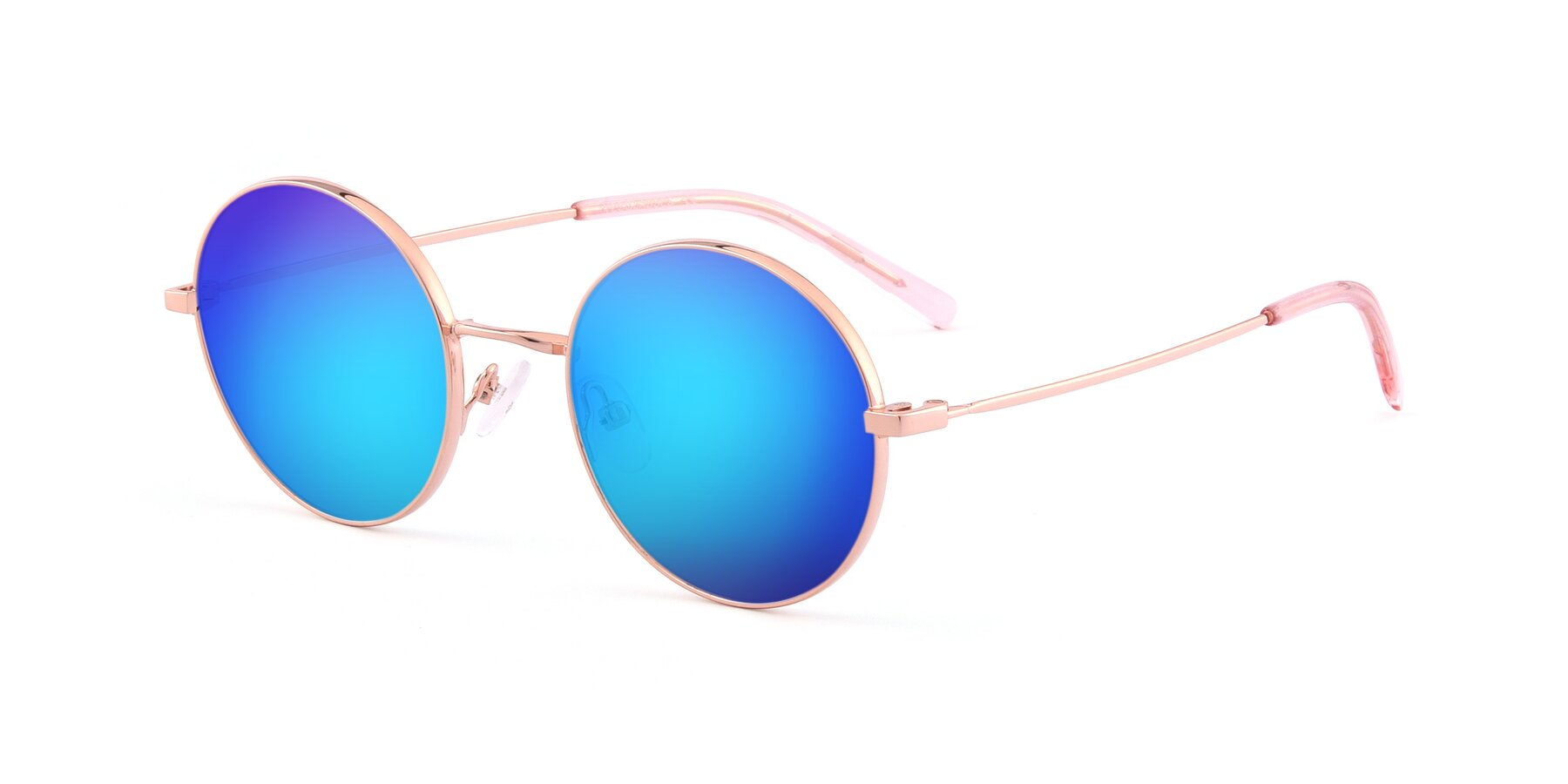 Angle of Moore in Rose Gold with Blue Mirrored Lenses