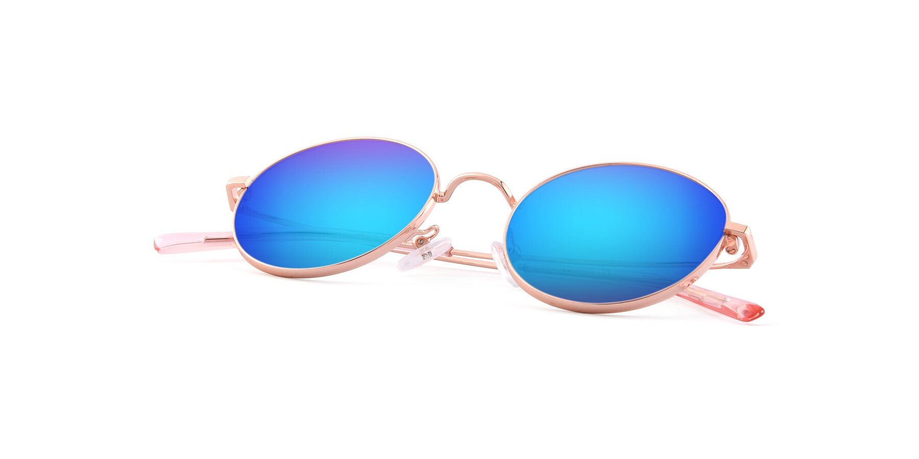 View of Moore in Rose Gold with Blue Mirrored Lenses
