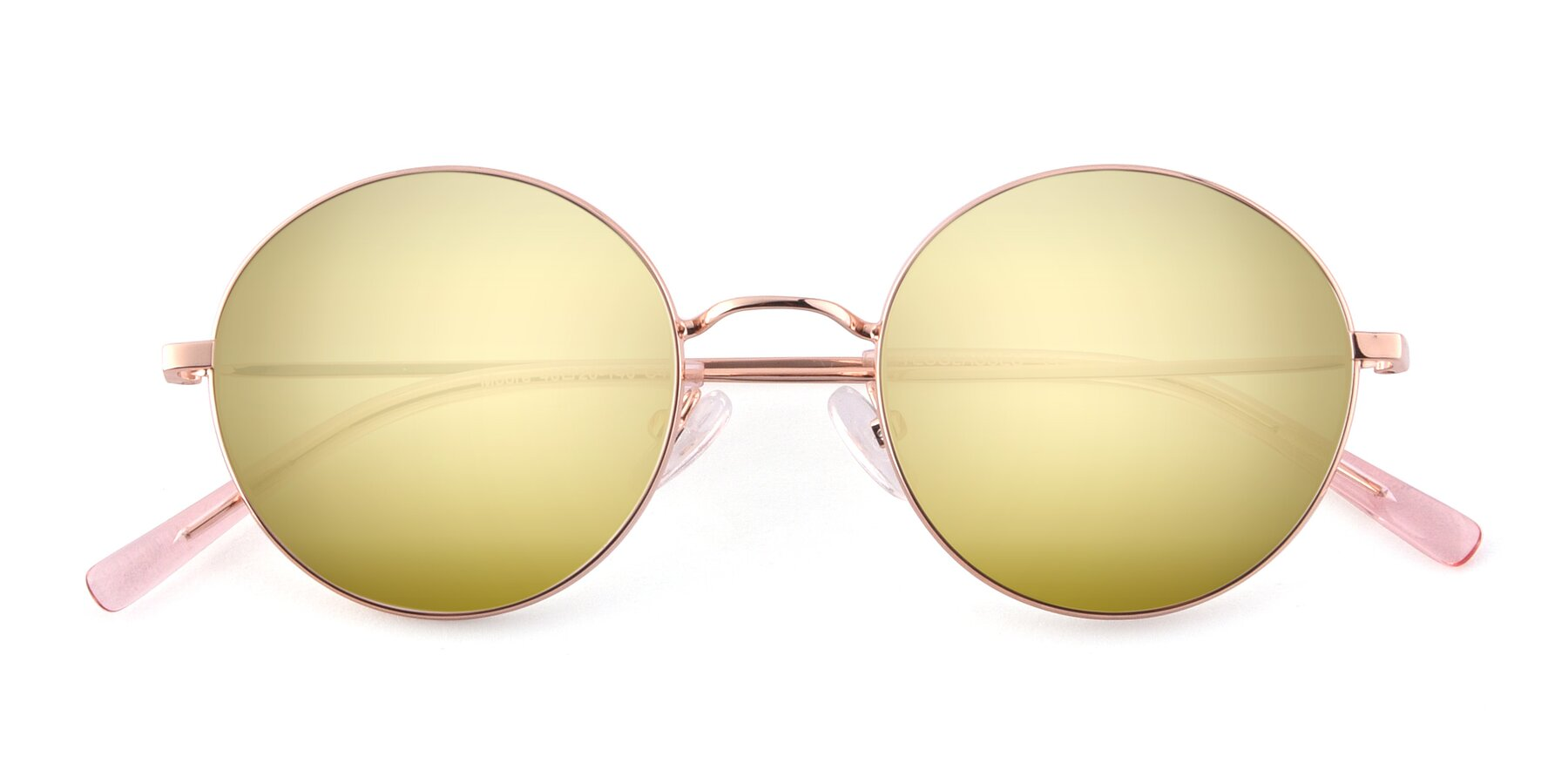 Folded Front of Moore in Rose Gold with Gold Mirrored Lenses