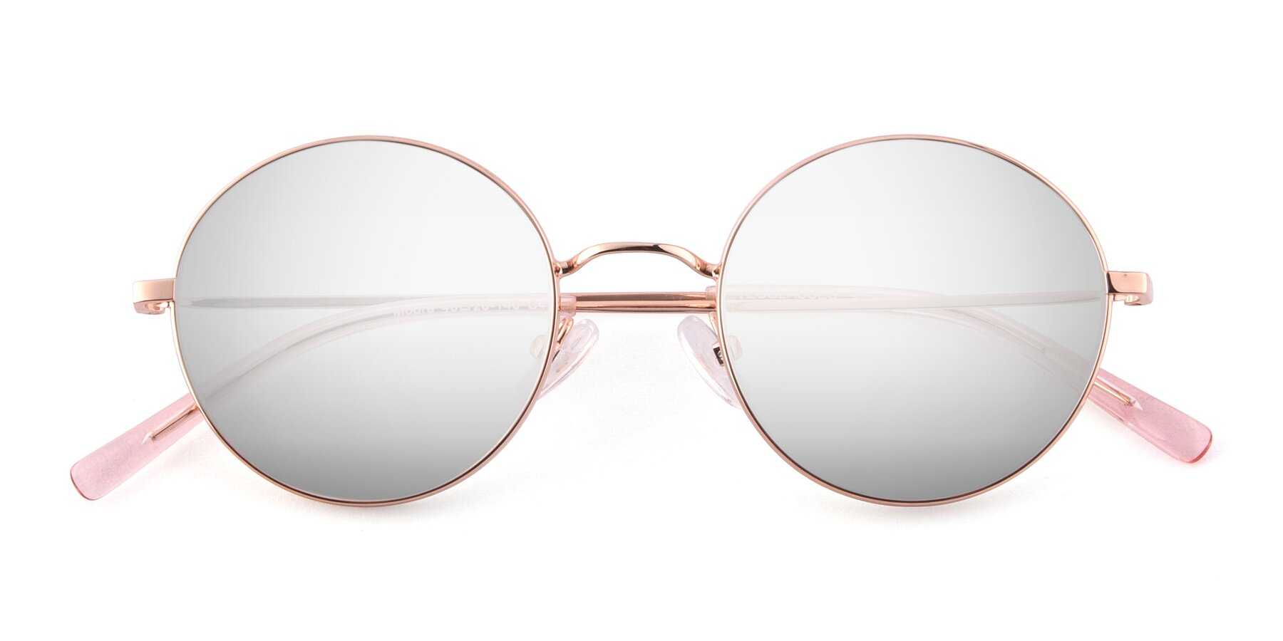 Folded Front of Moore in Rose Gold with Silver Mirrored Lenses