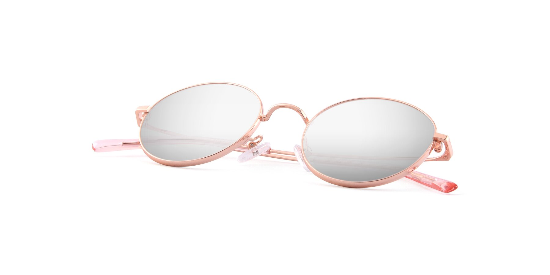 View of Moore in Rose Gold with Silver Mirrored Lenses