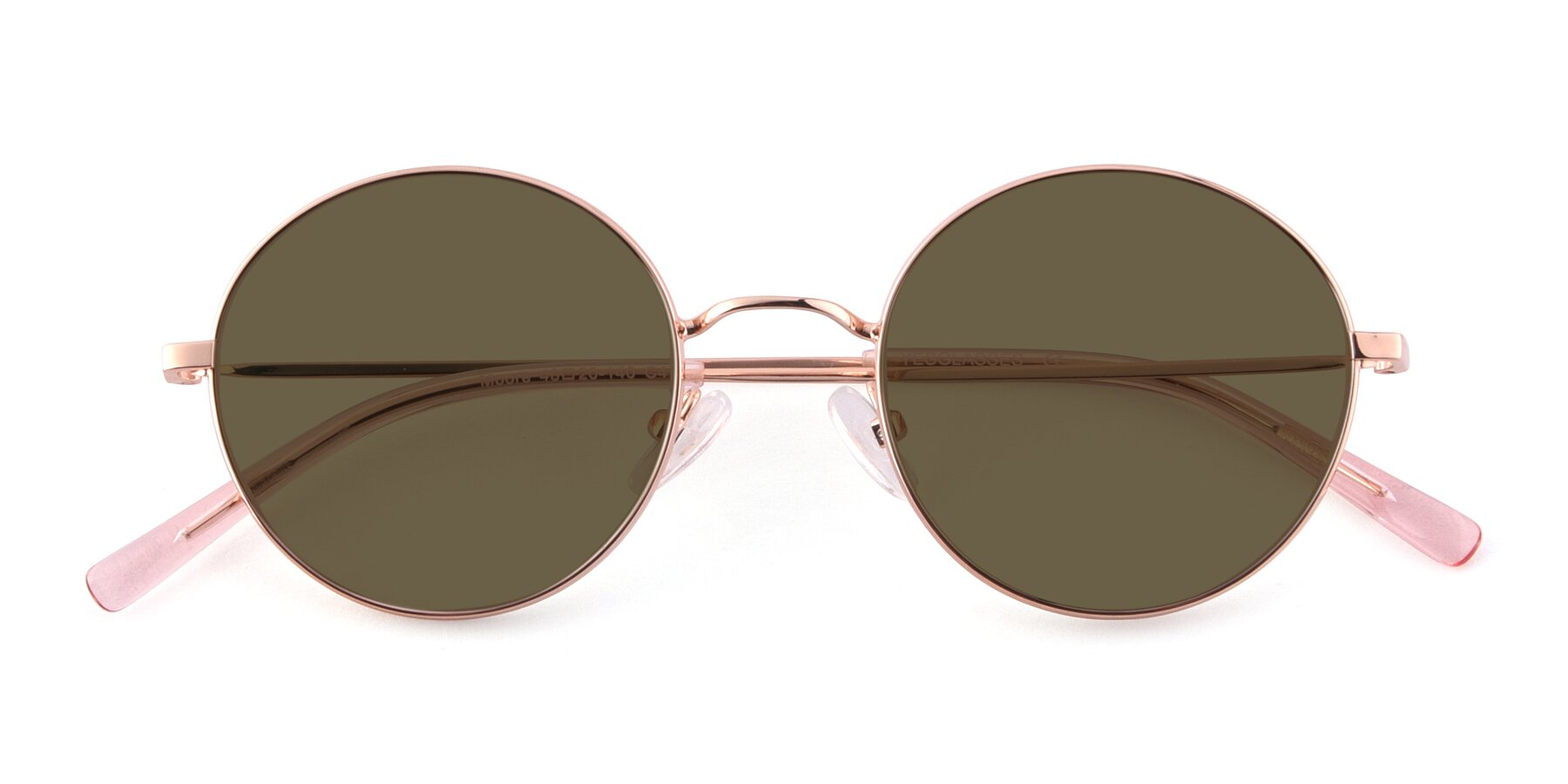 Folded Front of Moore in Rose Gold with Brown Polarized Lenses