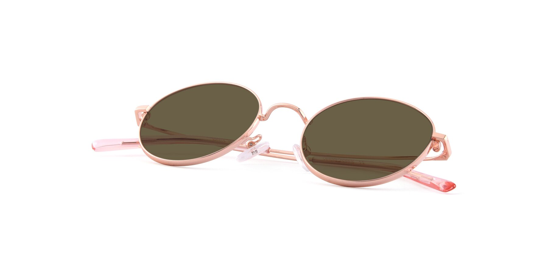 View of Moore in Rose Gold with Brown Polarized Lenses