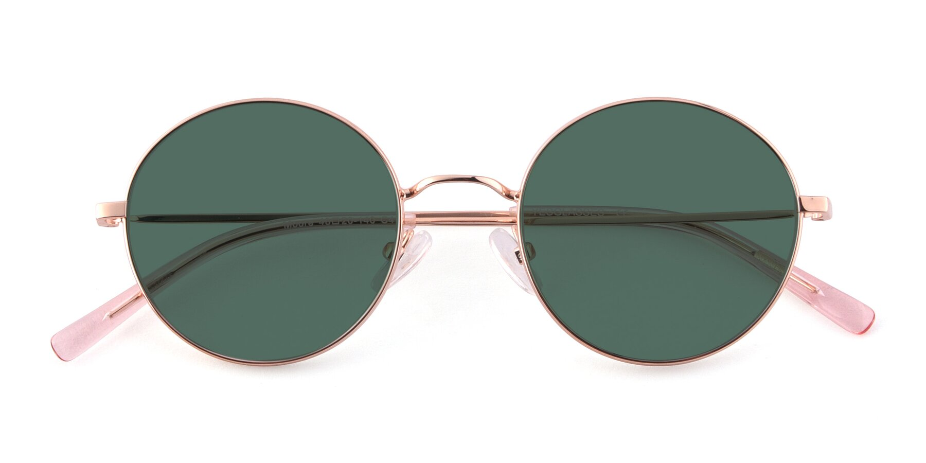 Folded Front of Moore in Rose Gold with Green Polarized Lenses