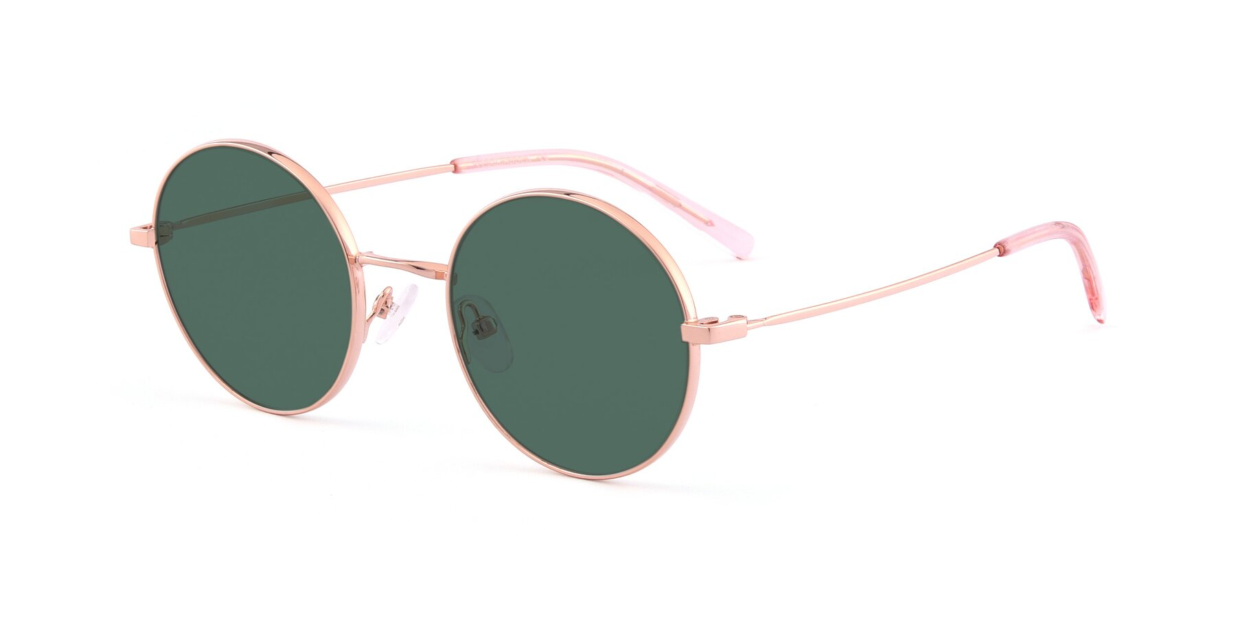 Angle of Moore in Rose Gold with Green Polarized Lenses